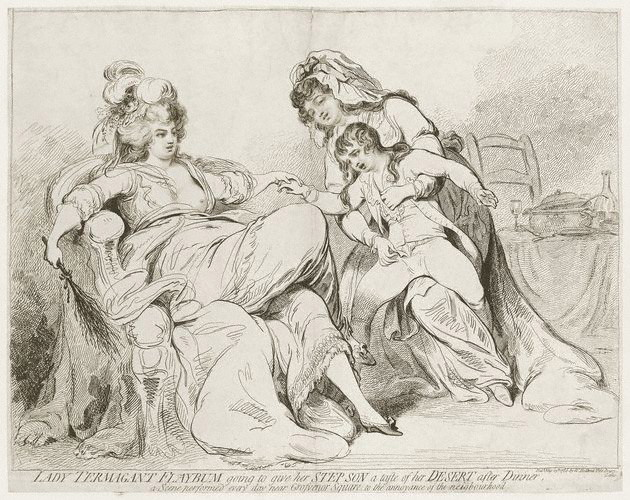 Two women, one lounging with a birch whip, the other pushing a small boy towards the first