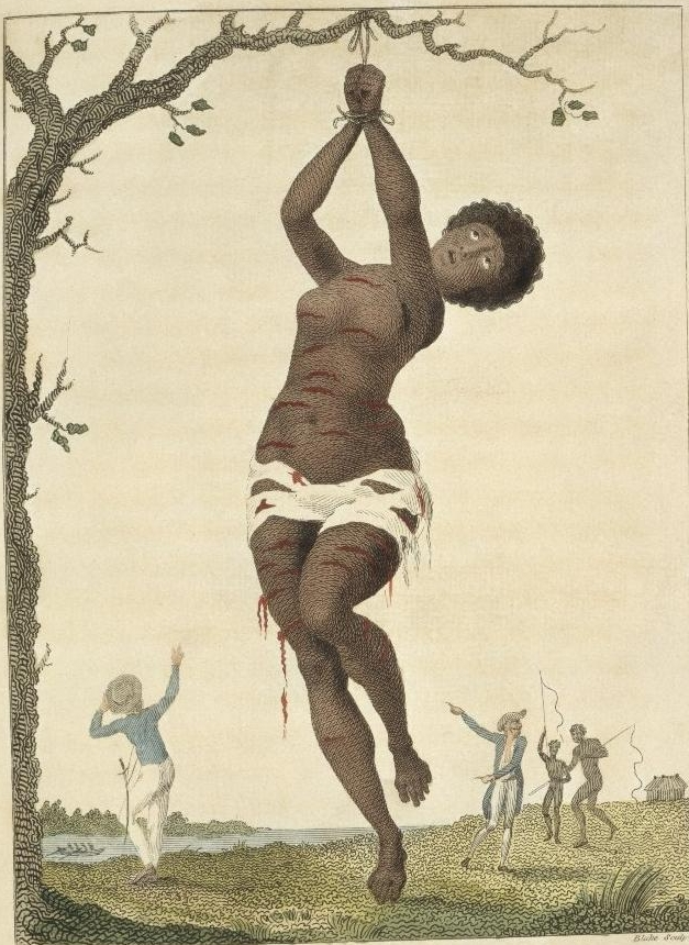 Engraving of black woman hanging by wrists being whipped.