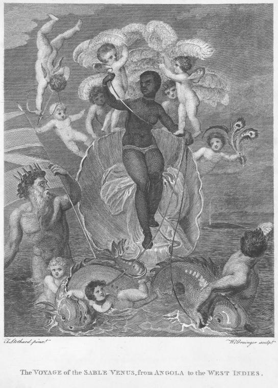 Illustration of bare-breasted African woman in baroque scene of gods and angels